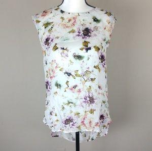 Haute Hippie floral silk cutout draped back blouse
